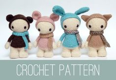 Amigurumi crochet  PATTERN of four cute misses by CreepyandCute, €5.95