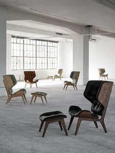 Chairs for days. The Mammoth Chair from is a hand-crafted, modern winged armchair. With an oak base and choice of vintage leather or wool upholstery. Available at Skandium. Shabby Chic Armchair, Retro Armchair, Scandinavian Chairs, Modern Scandinavian Interior, Design Shop, Chair Design, Furniture Design, Modern Furniture, Furniture Ideas