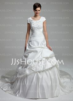 Wedding Dresses - $169.59 - Ball-Gown Scoop Neck Chapel Train Satin Wedding Dress With Lace Beadwork Sequins (002012761) http://jjshouse.com/Ball-Gown-Scoop-Neck-Chapel-Train-Satin-Wedding-Dress-With-Lace-Beadwork-Sequins-002012761-g12761