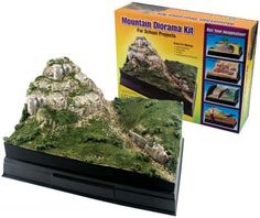 Woodland Scenics Scene-A-Rama Mountain Diorama Kit. This kit provides you with supplies and material needed to create a mountainous landscaped scene! Make realistic hills, volcanoes, mountains, and simple land contours.