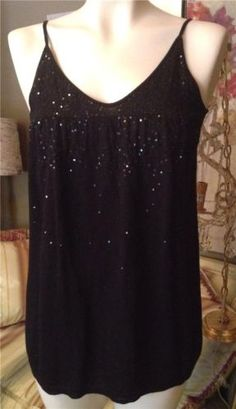 NWT-145-DKNY-Black-Cashmere-Silk-Sequin-Camisole-Top-Sweater-Size-M