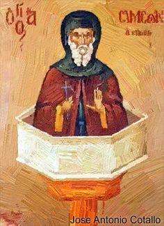 https://flic.kr/p/PEyU7R | San Simeón el Estilita.(†Dedicado  al P.Cotallo) | San Simeón  el Estilita  5 de Enero   Nace cerca del año 400 en el pueblo de Sisan, en Cilicia, cerca de Tarso, donde nació San Pablo. De pequeño se dedicaba a pastorear ovejas por los campos, pero en su corazón y en su mente su deseo de ser santo y ver al Padre en el cielo comenzó a crecer y cobrar mayor fuerza. A los 15 años entró a un monasterio, donde se dedicó a rezar intensamente y hacer extremas penitencias…