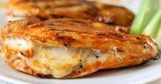 Grilled Cheesy Buffalo Chicken - Grilled spicy chicken breast stuffed with mozzarella cheese. Only 161 calories - grill chicken stuffed Grilled Buffalo Chicken, Buffalo Chicken Recipes, Buffalo Chicken Sandwiches, Butterflied Chicken, Baked Chicken, Easy Stuffed Chicken Recipes, Cheese Stuffed Chicken, Mozzarella Chicken, Sauce Recipes