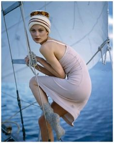 i want to be on a sail boat. Shalom Harlow Bruce Weber, Vogue, April 1993