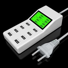 Universal 8-Port USB Charger LCD Display Charge Status Automatic Identification Of Charging Current To Meet a Variety Of Mobile
