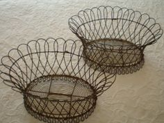 Pair Of Antique French Wire Baskets, Circa 1880 - found at www.rubylane.com