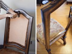 Find detailed instructions on how to reupholster dining room chairs that have two padded front and back paenls. Dissassemble the chairs and choose fabric. French Dining Chairs, Dinning Chairs, Leather Dining Chairs, Metal Chairs, Kitchen Chairs, Dining Table, Reupholster Dining Room Chairs, Reupholster Furniture, Upholstered Dining Room Chairs