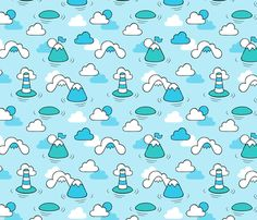 Sea Clouds and Mountains fabric by nossisel on Spoonflower - custom fabric