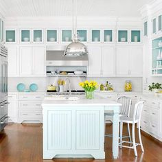 Turquoise & white kitchen