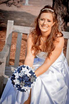 Fun bridal portrait with a paper bouquet!