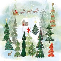 "Ag Jatkowska on Instagram: ""Jingle bells, jingle bells....🌲🎅🌲❄️🌲🎅 @brightagencyuk @brightillustration @brightartlicensing 🌲🌲🌲🌲#christmas #christmascard #santa…"" Christmas Cards, Christmas Tree, Christmas Design, Jingle Bells, Advent Calendar, Santa, Design Inspiration, Holiday Decor, Artist"