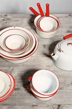 Red + White Vintage Enamelware