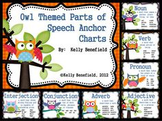 Owl Themed 8 Parts of Speech Anchor Charts  Great for owl themed classroom decorations for next year.  $