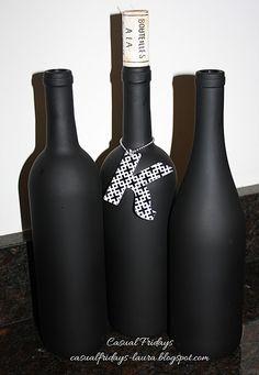 Chalkboard Wine Bottles decor