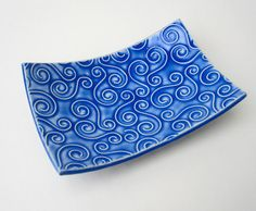 Whimsical Blue Textured Swirl Handmade Ceramic Pottery Soap Dish Plate on Etsy, $18.00
