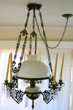 Antique Oil Lamp Metal and Milk Glass Chandelier - Listing # 227231