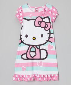 Another great find on #zulily! Aqua Stripe Hello Kitty Nightgown - Girls #zulilyfinds