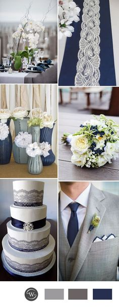 2017 grey and navy blue wedding color inspiration fall wedding corsage / fall wedding boutineers / fall wedding burgundy / wedding fall / wedding colors Silver Wedding Decorations, Wedding Themes, Wedding Centerpieces, Wedding Table, Wedding Cakes, Wedding Rings, Trendy Wedding, Fall Wedding, Dream Wedding
