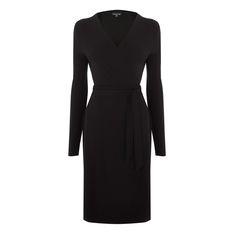 Warehouse, BELTED WRAP DRESS Black 0
