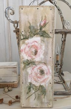 Burlap Luxe Home Style Designer/Artiste Living with a salvaged past and creating in the French cottage spirit. Arte Pallet, Pallet Art, Tole Painting, Painting On Wood, Scrape Painting, Rustic Painting, Pallet Painting, French Cottage, French Country