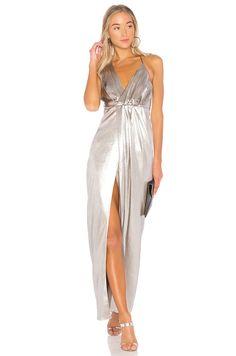 Halston Heritage Halter Neck Asymmetrical Dress in Metallic Fog | REVOLVE