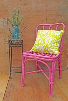 pink bamboo chair. bedside table. mix and match by RosesUpcycled, $45.00. buy online at www.etsy.com/shop/rosesupcycled. Local pick up from East Malvern.
