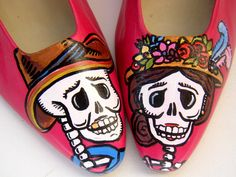 Painted Shoes Day of the Dead Pink Size 7. $88.00, via Etsy. you need these @Madeline Stevens