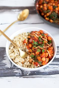 GOOD Vegan Spanish Chickpea And Sweet Potato Stew - Quick. Used chili sauce as sub. Used frozen butternut as sub. Added edamame.