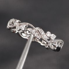 Milgrain Wedding Band Pave .30ct Diamonds 14K White Gold Engagement Ring,Wedding Ring,Engagement Ring on Etsy, $300.00
