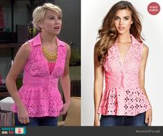 Riley's pink eyelet peplum top on Baby Daddy.  Outfit Details: http://wornontv.net/43862/ #BabyDaddy