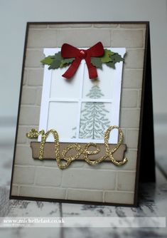handmade Christmas card from Happy Scenes & Hearth & Home Thinlits from Stampin' Up! ... window die cut ... luv the frosty look outside viewed through vellum window panes ... Stampin' Up!