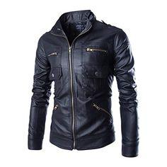 Swimblue Mens Stylish Outwear Lightweight Faux Leather Jacket