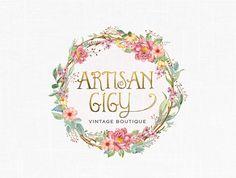 Shabby Chic Floral Logo Design Vintage Logo by MaggieArtStudio