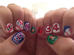 Done By Me. Boston Red Sox Nail Art I did this morning.