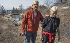 """SANTA ROSA, Calif. — Jan Pascoe and her husband, John, were trapped. The world was on fire, and Jan was hyperventilating from fear. Then they remembered their neighbors' pool. """"You've... Uplifting News, California Wildfires, Feel Good Stories, Wild Fire, New York Post, End Of The World, North Face Backpack, Piece Of Clothing, Rage"""