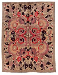Circa: 1930    A French Art Deco rug designed by René Crevel. Born in Rouen, France, Crevel was a painter, designer and decorative artist.
