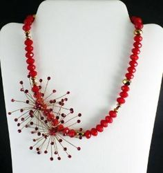 Vintage Red Crystal Upcycled Starburst Necklace Gifts for her   BellaSweet - Jewelry on ArtFire