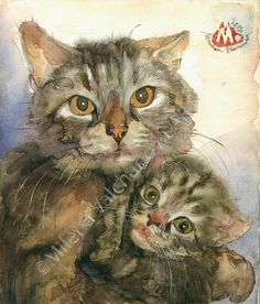 """Love-Mother with child-Cat  art-ORIGINAL watercolor Painting- watercolor art-5.5""""x7,5""""(14/19)sm-One of a Kind-Milena Valchanova Art on Etsy, $150.00"""