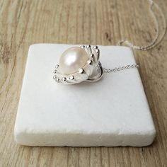Pearl Solitaire Necklace, Big Sterling Silver Flower Pendant on Chain, Bridal Pearl Anniversary Necklace, June Birthstone, Santorini Wedding Pearl Pendant Necklace, Pearl Jewelry, Fine Jewelry, Jewelery, Sterling Silver Flowers, Sterling Silver Pendants, Pearl Anniversary, Real Pearls, June Birth Stone