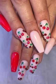 23 Ways to Wear Cherry Nails This Spring and Summer Gorgeous Nails, Pretty Nails, Cute Pink Nails, Red Sparkly Nails, Cherry Nails, Thin Nails, Red Acrylic Nails, Red Nail Designs, Fire Nails