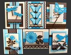 card kit photo (It was sold out and is on the blog as an example.) ... black and blue with white ... luv how bright the blues look against black .... die cuts anf punches ... two-step bird, butterflies and dragonflies ... polka dot papers ... bows ... all great cards ...  Stampin' Up!