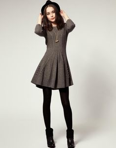 NW3   NW3 by Hobbs Hills Knit Dress With Skater Skirt at ASOS