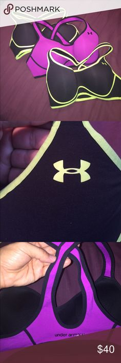 Under Armour sports bras bundle 36C large Three sport bras. Molded cups, cross back, pink and 2 lime green. Worn a few times but in great condition. UnderArmour Under Armour Intimates & Sleepwear Bras
