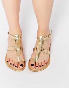 New Look Imperial Gold Loop Gladiator Flat Sandals saved by #ShoppingIS