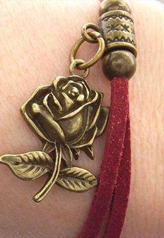 Rose charm bracelet steam punk