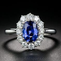 1.55 Carat No-Heat Burma Sapphire and Diamond Ring - 30-1-7077 - Lang Antiques