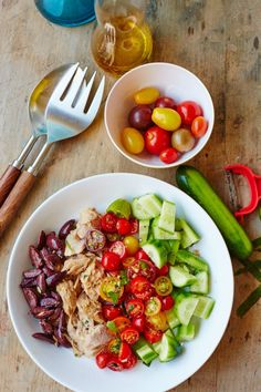 Greek-Style Tuna Salad Recipe. This light, healthy, low carb dinner is made with canned or pouch tuna. great if you're looking for ideas for quick and easy weeknight meals and recipes! You'll need tuna, cucumber, cherry or tomatoes, olive, olive oil, lemon juice, and fresh herbs.