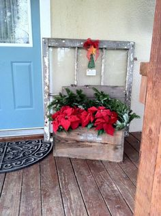 vintage wooden box crate and antique window.I like the crate. Christmas Window Decorations, Farmhouse Christmas Decor, Primitive Christmas, Rustic Christmas, Holiday Crafts, Holiday Fun, Holiday Decor, Christmas Rock, Christmas Ideas