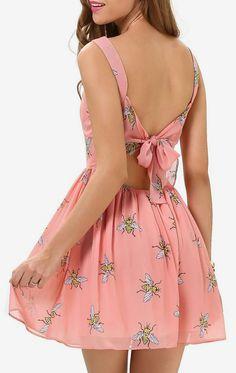 Pink Strap Bee Print Self-tie Back Short Dress