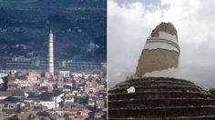 Tower before and after 4/25/2015 earthquake (7.8 on Richter Scale)